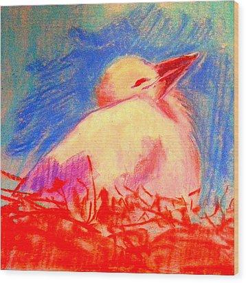 Baby Stork Wood Print