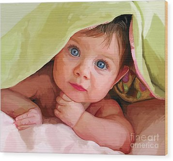 Wood Print featuring the painting Baby Under Blanket by Tim Gilliland