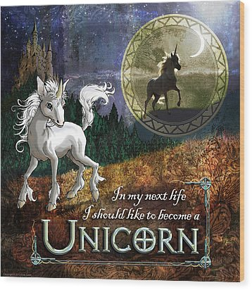 Baby Unicorn Wood Print by Evie Cook