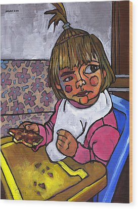 Baby With Pizza Wood Print by Douglas Simonson