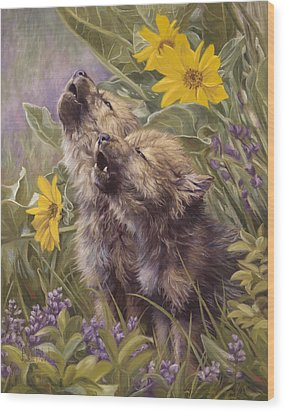 Baby Wolves Howling Wood Print