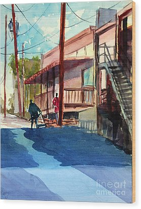 Back Alley Wood Print by Ron Stephens