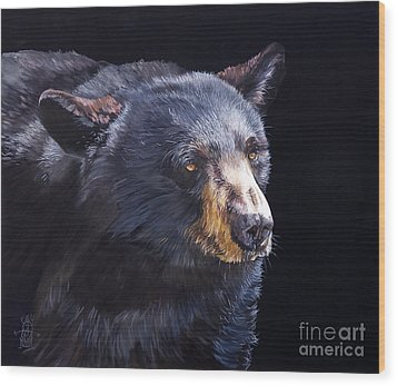 Back In Black Bear Wood Print