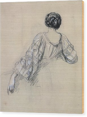 Back Of A Young Woman Wood Print by Antoine Auguste Ernest Herbert