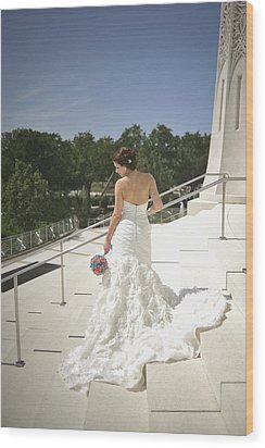 Back Of Bride At Baha'i Temple Wood Print by Mike Hope