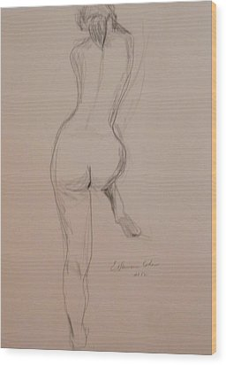 Back Of Nude With Foot Up Wood Print by Esther Newman-Cohen