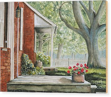 Back Porch Geraniums Wood Print