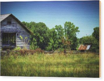Back Road Barns Wood Print by Barry Jones