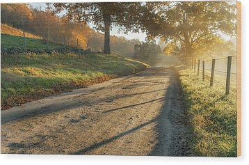 Back Road Morning Wood Print by Bill Wakeley