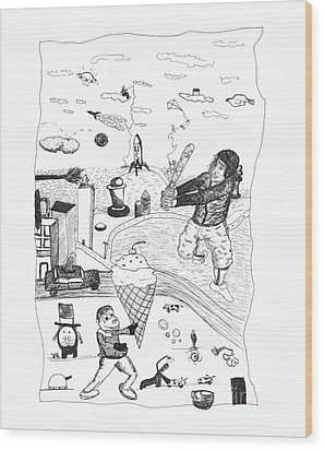Back Rooms Of My Mind Door 17812 Wood Print by Michael Mooney