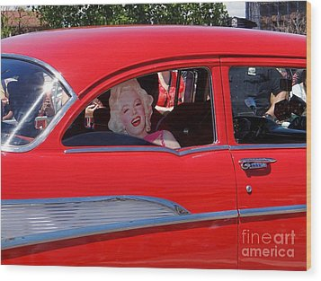 Wood Print featuring the photograph Back Seat Marilyn by Ed Weidman