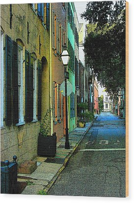 Wood Print featuring the photograph Back Street In Charleston by Rodney Lee Williams