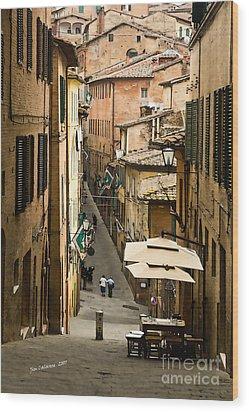 Back Street In Siena Italy Wood Print by Jim  Calarese
