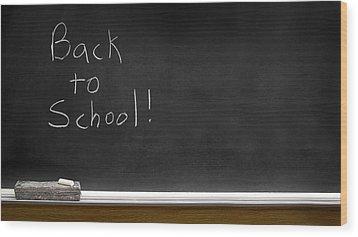 Back To School Chalkboard Wood Print by Lane Erickson