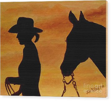 Wood Print featuring the painting Back To The Barn by Julie Brugh Riffey