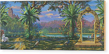 Backdrop For Three Altars Wood Print by Vrindavan Das