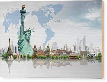 Background Travel Concept  Wood Print by Potowizard Thailand