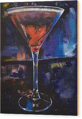 Backstage Martini Wood Print by Michael Creese