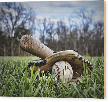 Backyard Baseball Memories Wood Print by Cricket Hackmann