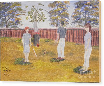 Wood Print featuring the painting Backyard Cricket Under The Hot Australian Sun by Pamela  Meredith