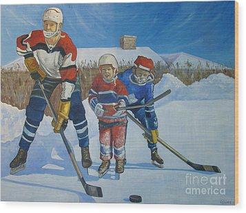Backyard Ice Hockey Wood Print by Christina Clare
