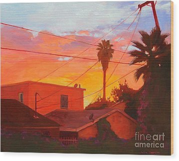 backyard in East LA Wood Print by Andrew Danielsen