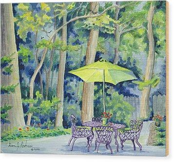Wood Print featuring the painting Backyard Retreat by Dan Redmon