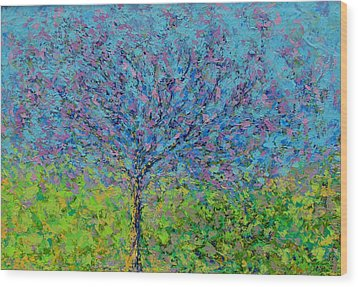 Purple Tree Wood Print by Kat Griffin