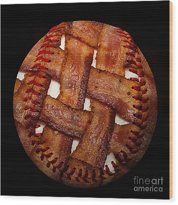Bacon Weave Baseball Square Wood Print by Andee Design