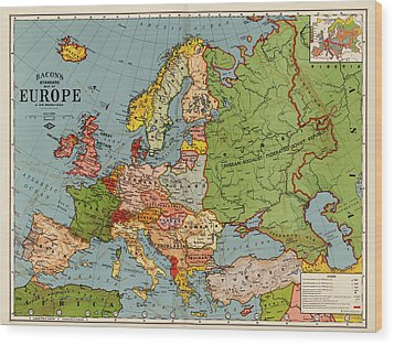 Bacon's Standard Map Of Europe - Circa 1920 Wood Print by Blue Monocle