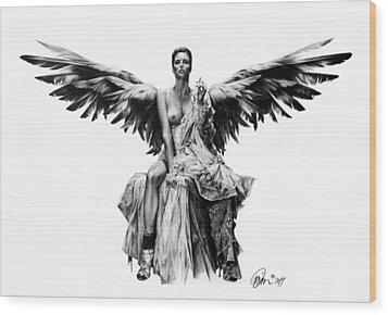 Bad Angel Wood Print by Mario Pichler
