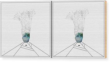 Bad Hair Day Wood Print by Ann Calvo