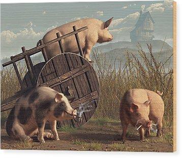 Bad Pigs Wood Print by Daniel Eskridge