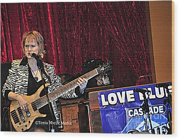 Wood Print featuring the photograph Badass Blues Bassist Lisa Mann by Tonia Noelle
