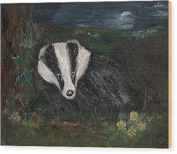 Badger Wood Print by Carol Rowland
