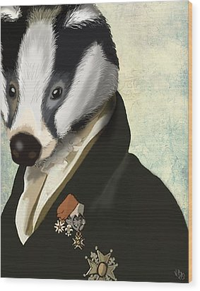 Badger The Hero Wood Print by Kelly McLaughlan