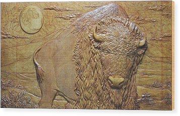 Badlands Bull Wood Print by Jeremiah Welsh