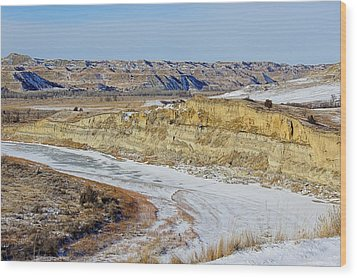 Badlands Frozen Wood Print