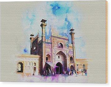 Badshahi Mosque Gate Wood Print by Catf