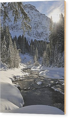 Baergunt Valley Kleinwalsertal Austria In Winter Wood Print by Matthias Hauser