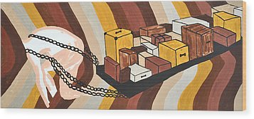 Wood Print featuring the painting Baggage by Erika Chamberlin