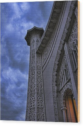 Wood Print featuring the photograph Bahai Temple Detail At Dusk II by John Hansen
