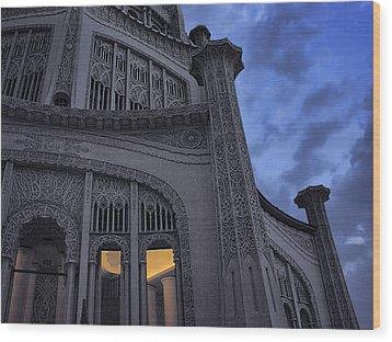 Wood Print featuring the photograph Bahai Temple Detail At Dusk by John Hansen