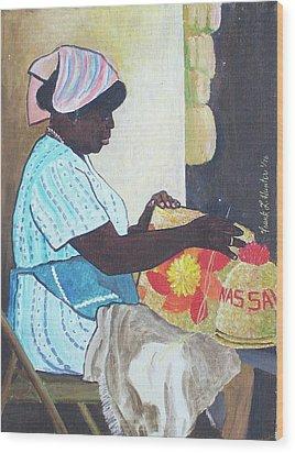 Bahamian Woman Weaving Wood Print by Frank Hunter
