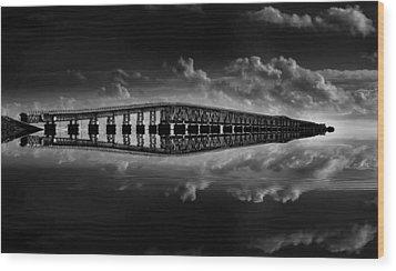 Bahia Honda Bridge Reflection Wood Print by Kevin Cable