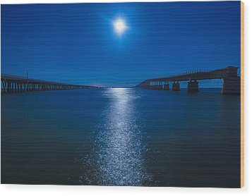 Bahia Moonrise Wood Print by Dan Vidal
