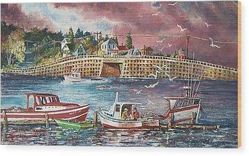 Bailey Island Cribstone Bridge Wood Print by Joy Nichols
