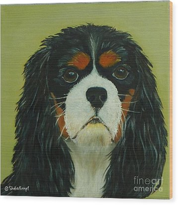 Wood Print featuring the painting Cavalier King Charles Spaniel by Shelia Kempf