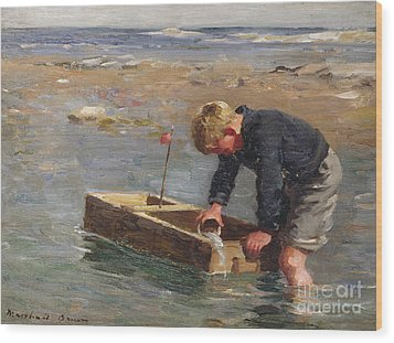 Bailing Out The Boat Wood Print by William Marshall Brown