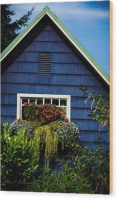 Wood Print featuring the photograph Bainbridge Cottage by Allen Biedrzycki